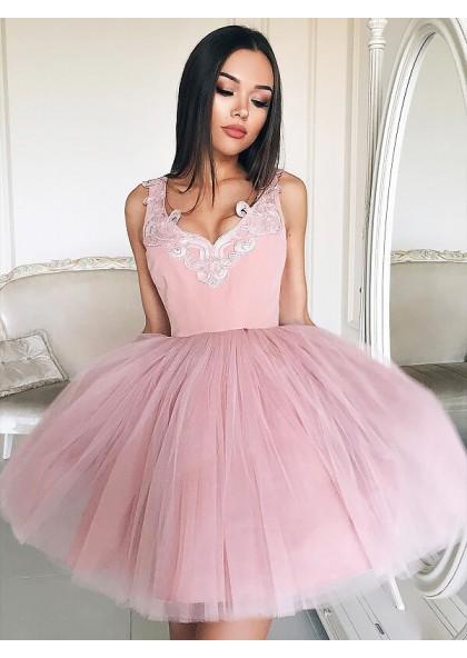 540d10d96d42 Tulle Ball Gown V Neck Sleeveless Applique Cut Short Mini Homecoming Dresses