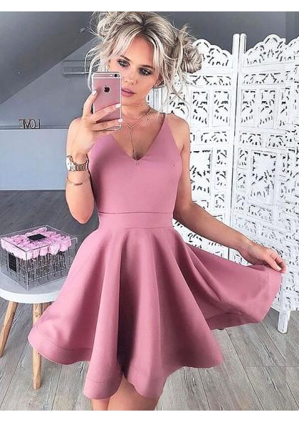 825d23ba013 V Neck Sleeveless A-Line/Princess Cut Short Mini Dusty Rose Homecoming  Dresses