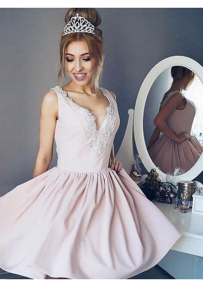 11958a48a68 Pale Pink A-Line/Princess V Neck Applique Sleeveless Pleated Cut Short Mini Homecoming  Dresses