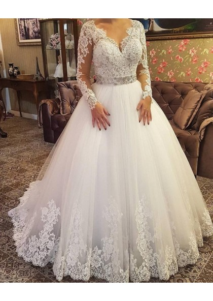 2020 Elegant Long Sleeves Sweetheart Lace Beaded Ball Gown Wedding Dresses Bridal Gowns,Sky Blue Dresses For A Wedding