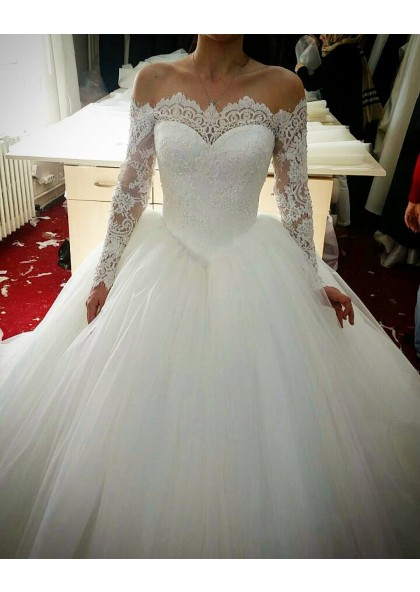 2020 Amazing Long Sleeves Off Shoulder Sweetheart Lace Hot Sale Ball Gown Wedding Dresses,Sky Blue Dresses For A Wedding