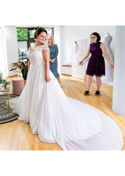 2020 New Arrival A Line Chiffon Capped Sleeves Sweetheart Lace Plus Size Beach Wedding Dresses,Trusted Online Wedding Dress Sites