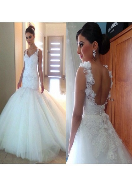 2020 Cheap Mermaid Tulle Sweetheart Backless Lace Wedding Dresses