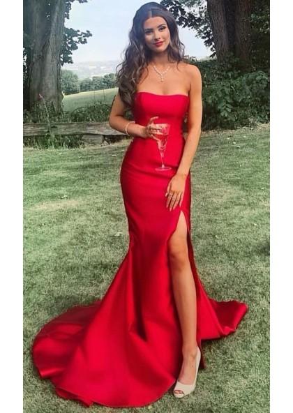 Satin Strapless Long 2020 Prom Dresses