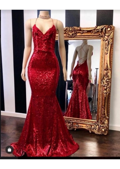 2020 Sexy Halter Sequins Red Mermaid Prom Dresses