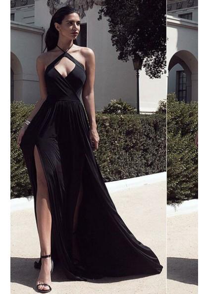 25a2c0c8b719 2019 Junoesque Black Halter Front Split Open Back Stretch Satin Prom Dresses