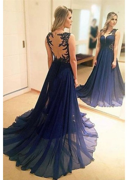 62153cd007 2019 A-Line Chiffon Dark Navy Sweep Train Prom Dresses