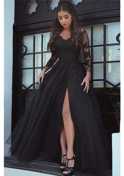13de28c69b 2019 Cheap Princess/A-Line Black Long Sleeves Tulle Prom Dresses