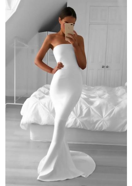 ec2b62e25d821 2019 Elegant Mermaid/Trumpet Strapless Satin White Prom Dresses SKU:  LDSPD2018-1039 ...