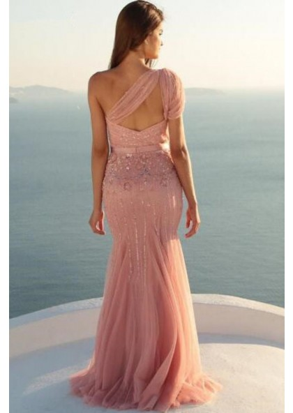 5a4abbb9d952 One Shoulder Tulle Dusty Rose Beaded Prom Dresses