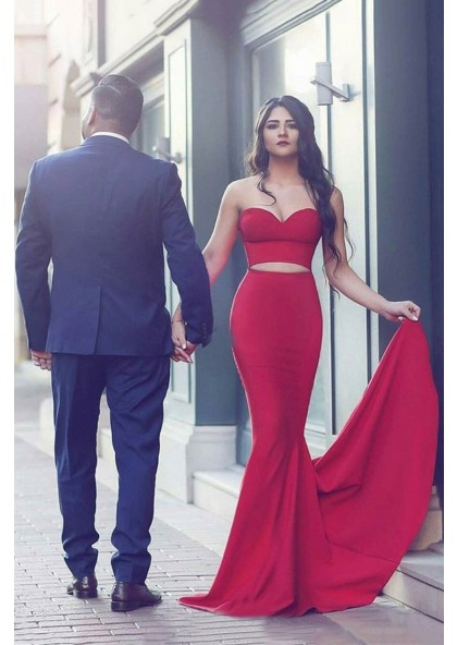 b0c64d333d12 2019 Sexy Mermaid Red Two Pieces Prom Dresses