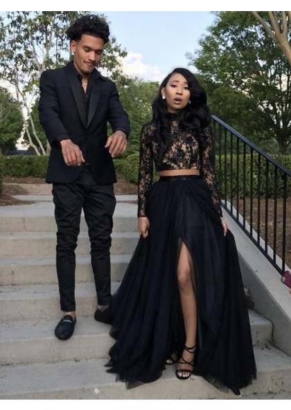 Black Long Sleeves Side Slit Two Pieces Beaded Lace Prom Dresses 2019