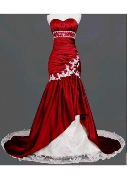 2020 Red Mermaid Sleeveless Chapel Train Wedding Dresses