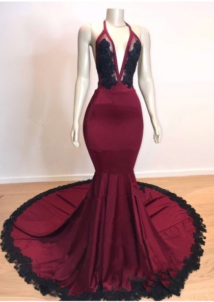 8f1ffd26207 Sexy Mermaid V Neck Backless Burgundy And Black Long Prom Dress 2019