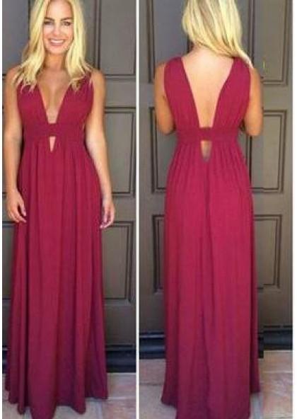 a43c3f01f762 Burgundy Floor-Length/Long V-Neck A-Line/Princess Chiffon Prom Dresses