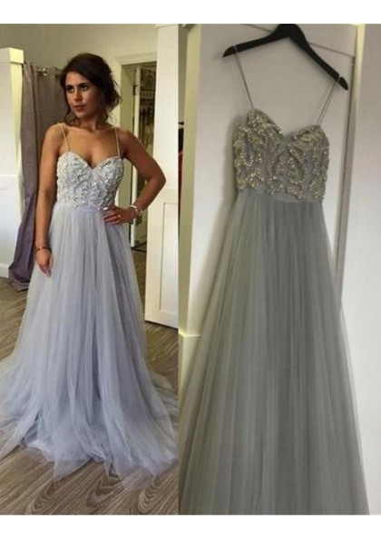 52f3ffca17 A-Line Princess Spaghetti Straps Beading Floor-Length Long Tulle Silver Prom  Dresses