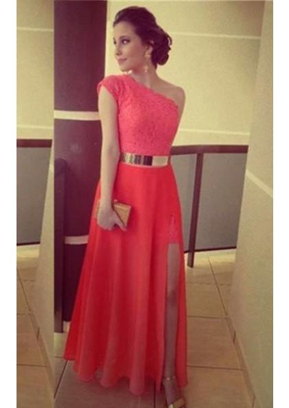 f70338be Floor-Length/Long Column/Sheath One Shoulder Chiffon Prom Dresses
