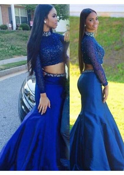 5004ae45af7 LadyPromDress 2019 Blue Mermaid Trumpet High Neck Natural Zipper  Floor-Length Long Satin Prom Dresses