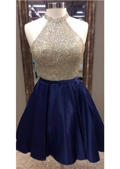 A,Line Jewel Navy Blue Satin Short Homecoming Dress 2019 with Beading