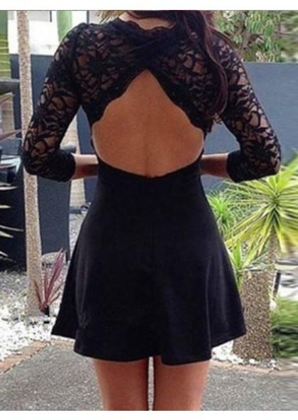 06a4f928128 A-Line V-Neck 3/4 Sleeves Open Back Little Black Dress with Lace SKU:  373870 ...