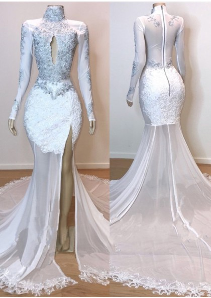 cec623baf0b1 2019 White Long Sleeve High Neck Lace and Tulle Side Slit Mermaid Prom  Dresses