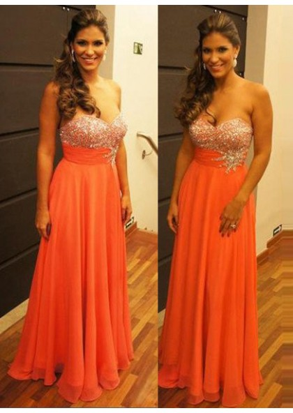 8aee9147df2e Water Melon Sweetheart Beading Zipper Sleeveless Floor-Length/Long Chiffon  Orange Prom Dresses