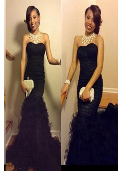 4a89cc88da2b 2019 Junoesque Black Floor-Length/Long Mermaid/Trumpet Strapless Tulle Prom  Dresses SKU: LDP-989845 ...