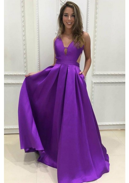 f634ec3ef93 Purple Princess A-Line Satin Prom Dresses Long