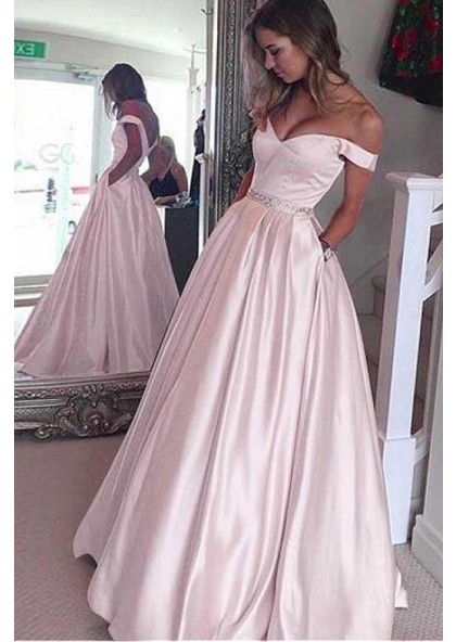 7666ddb0d24ba 2019 Siren Princess A-Line Satin Off The Shoulder Blushing Pink Prom Dresses