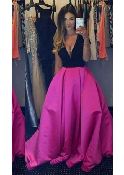 bf7dc12ec91d V-Neck Floor-Length/Long Ball Gown Satin Fuchsia Prom Dresses