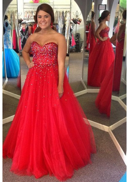 2019 Gorgeous Red Prom Dresses Sweetheart