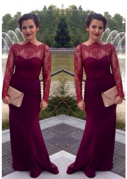 6b984370b8a97 2019 Gorgeous Red Illusion Long Sleeve Mermaid/Trumpet Prom Dresses