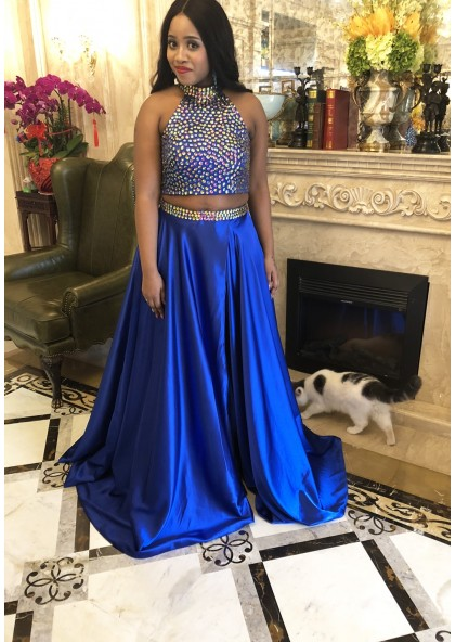 84663efe420 LadyPromDress 2019 Ball Gown Two Piece Prom Dresses Royal Blue Queen