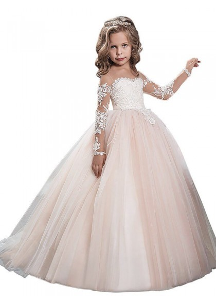 Long Flower Girl Dresses Tulle Ball Gown Scoop First Communion Party Dresses