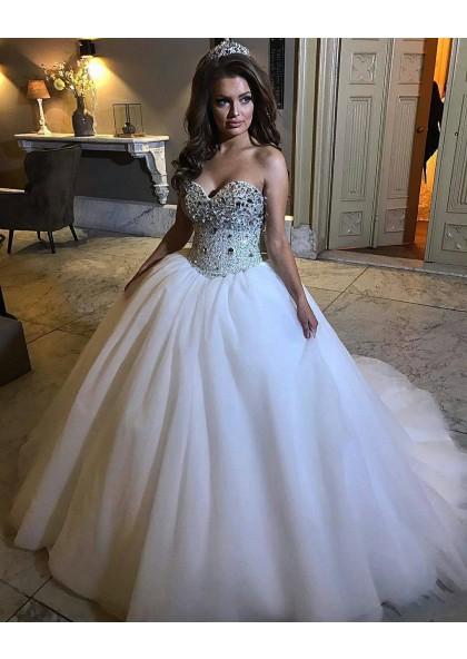 Princess Sweetheart White Ball Gown Wedding Dresses Cheap Wedding Dresses