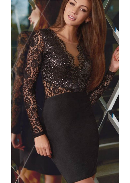 Sheath Black Short Long Sleeves Lace 2019 Prom Dresses