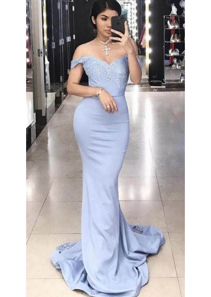 2d25ad69a5 Charming Trumpet Mermaid Off The Shoulder Light Sky Blue 2019 Prom Dresses