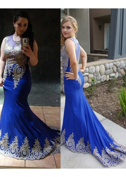 5e5bebb1a6f Charming Trumpet Mermaid Royal Blue Prom Dresses With Appliques 2019