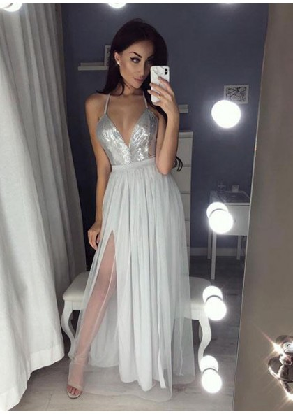 d7d0995e665f Cheap A-Line/Princess Silver Side Slit Sweetheart Tulle 2019 Prom Dresses