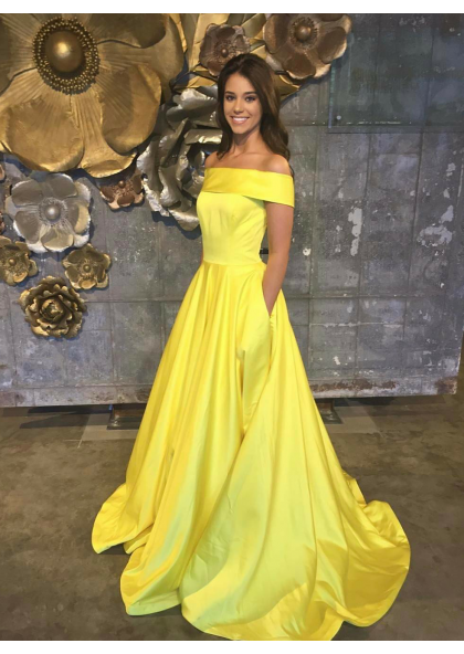 22458e0c8bb 2019 Cheap Satin A-Line Princess Yellow Off The Shoulder Prom Dresses