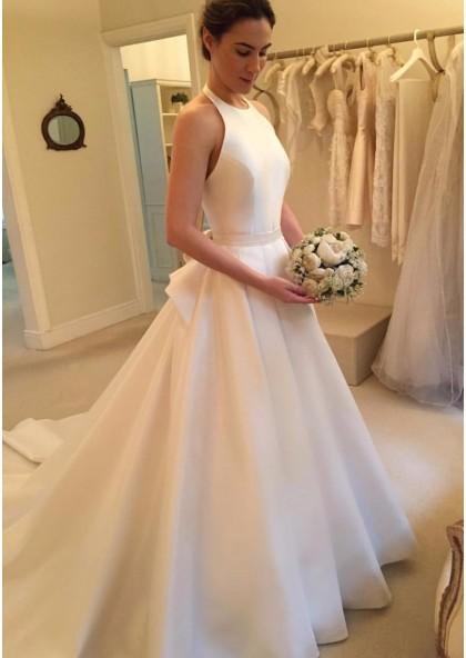 2020 Elegant A Line Satin Long Train Plain Wedding Dresses