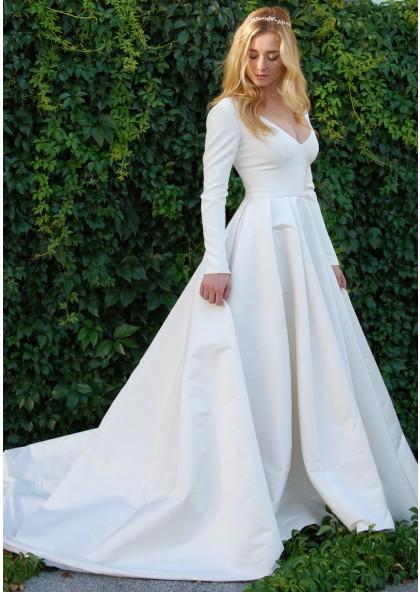 Cheap A Line Satin Long Sleeves Plain Wedding Dresses 2019
