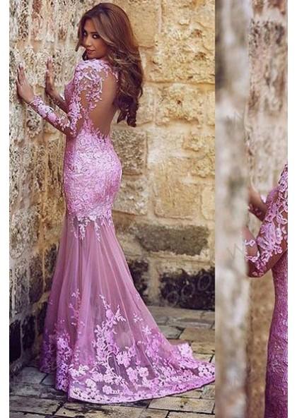 efb5d5888ba Charming Appliques Mermaid Trumpet Tulle 2019 Glamorous Pink Prom Dresses
