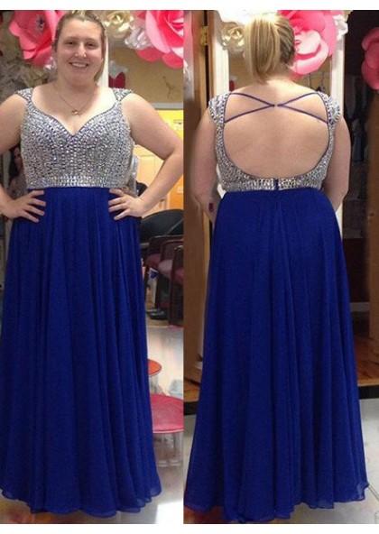 852ece4a1c9 LadyPromDress 2019 Blue Beading Criss-Cross Chiffon Prom Dresses