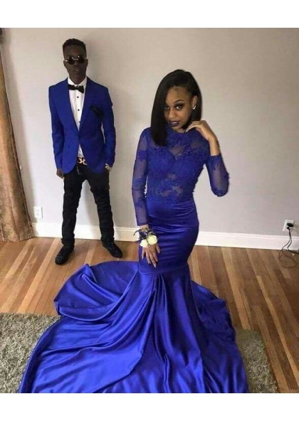 6d8ca0ccee2 2019 Royal Blue Long Sleeves Mermaid Satin Prom Dresses