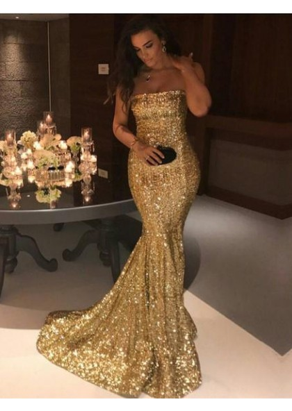 95b4a8c74a 2019 Gorgeous Gold Sequins Mermaid Prom Dresses