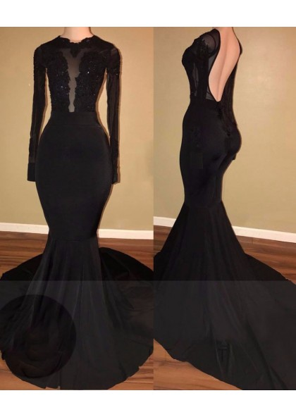 3d456555f 2019 Unique Black Long Sleeves Mermaid Backless Prom Dresses