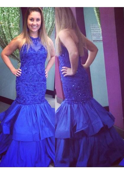 bba76f80ff5 LadyPromDress 2019 Blue Appliques Halter Mermaid Trumpet Taffeta Prom  Dresses