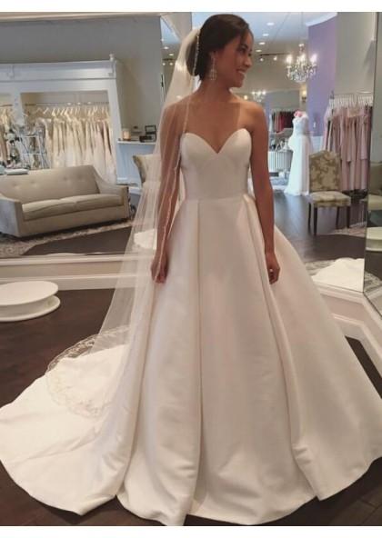 2020 Simple A Line Sweetheart Satin Plain Wedding Dresses