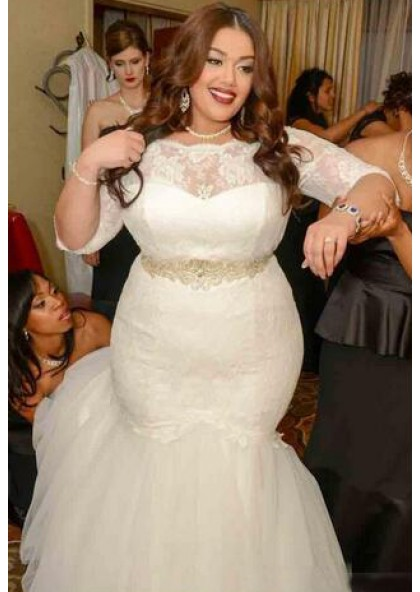 2020 Mermaid Long Sleeves Lace Plus Size Wedding Dresses,Ready To Wear Wedding Dresses Canada